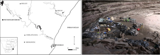 Geographical location of Sibudu in KwaZulu-Natal and view on the excavation area within the rock shelter.