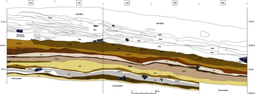 Stratigraphic section of the Eastern Excavation (combined north and east profile) of Sibudu.Colored layers, beginning with BSP, were excavated by the Tübingen team between 2011–2014 and are located in the upper part of the sequence dated to ~58 ka.