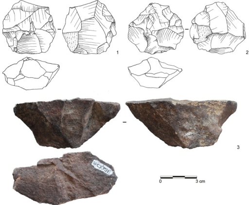 Selection of cores from assemblage POX.1–2: Inclined core, bifacial (both dolerite, E2-700; E2-708); 3: Single-platform core, blades (dolerite, C3-792). (Drawings by L. Brandt and M. Lajmiri; photograph by J. Becher)