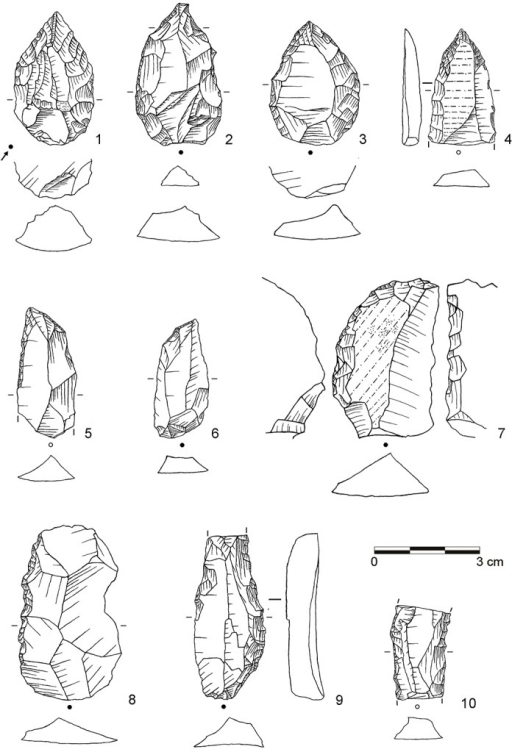 Selection of tools from assemblage POX.1–3: Unifacial point, Tongati (all dolerite, C3-868, D2-596, C2-763.7); 4: Unifacial point, Tongati (hornfels, E3-977); 5: Unifacial point, ACT (hornfels, C2-717); 6–7: Unifacial point, ACT (both dolerite, D3-856; D3-615); 8) Denticulate (dolerite, D2-446); 9: Lateral retouch, Ndwedwe (dolerite, D3-619); 10: Lateral retouch, Ndwedwe (hornfels, D3-608). (Drawings by L. Brandt)