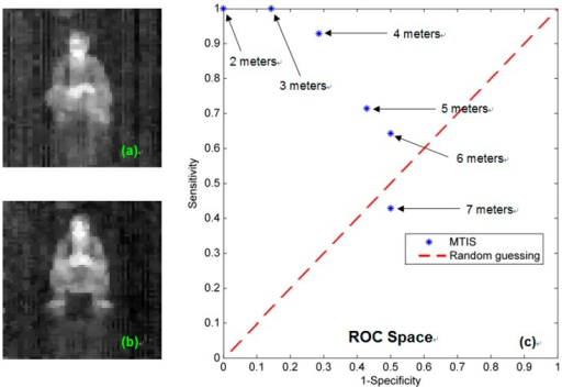 The recognition experiments of MTIS. (a) Sample pattern of the sitting position; (b) sample pattern of the crouched position; and (c) the receiver operating characteristic (ROC) space plot.