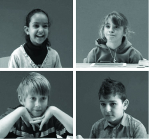 Stills illustrating representative examples of children's typical reactions in different experimental conditions (top left: computer/first prize; top right: present peer/first prize; bottom left: computer/consolation prize; bottom right: present peer/consolation prize).