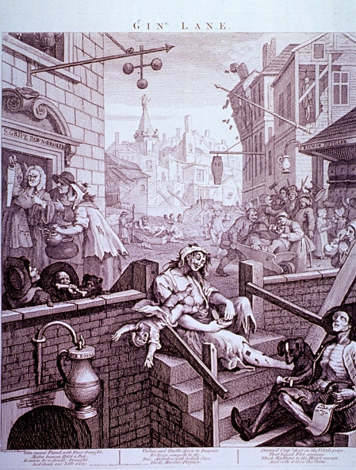 <p>London street scene depicting the horrors resulting from addiction to gin: child neglect and abuse, suicide, bankruptcy, and general social decay among the working classes.</p>