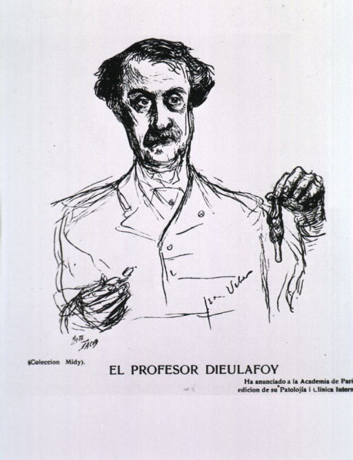<p>Caricature from La Tribuna Medica (Chile), with French text.</p>