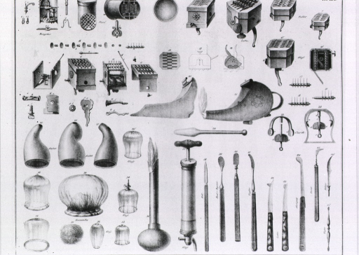 <p>Scarificators, cupping bells, heating devices, and other instruments are arranged by type; some are identified as the particular type used by noted surgeons.</p>