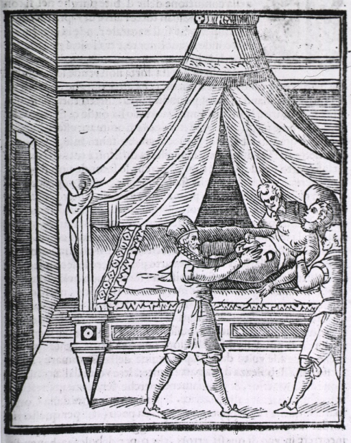 <p>A woman lying on a bed is being restrained by two male assistants while the surgeon extracts the infant during a cesarean section.</p>
