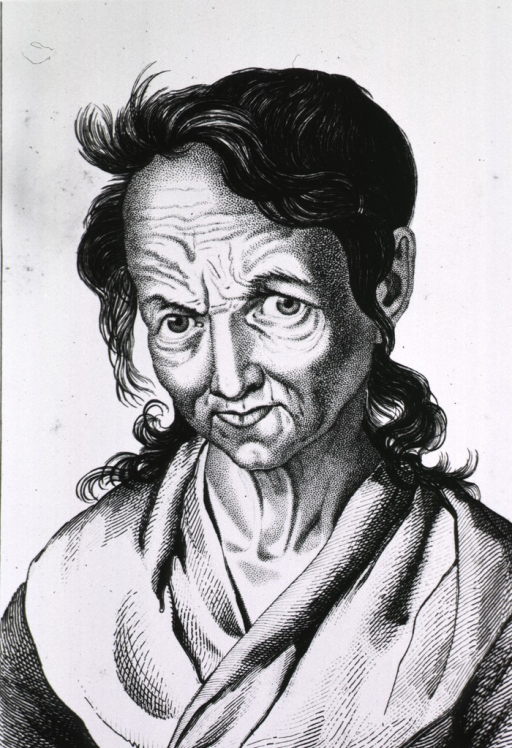 <p>Head and shoulders, full face portrait of a woman with wrinkled forehead and disheveled hair.</p>