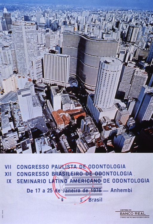 <p>Multicolor poster with bright light blue and black lettering announcing conferences, Jan. 1976.  Also lists dates, sponsor.  Dominant image on poster is bird's-eye-view color photo of Sao Paulo.  Congress names in blue, on white background, near bottom of poster.  Names superimposed on logo featuring an outline of South America, with Brazil in gray, and gray and white stripes.  Two red circles surround logo.  Logo for sponsor in black in lower right corner.</p>