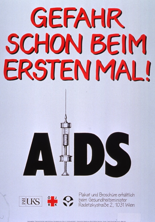 <p>White poster with red and black lettering.  Initial title phrase at top of poster.  Visual image is an illustration of a syringe that rests on its plunger.  The syringe forms the &quot;i&quot; in AIDS.  Logos and a note about the availability of the poster below illustration and text.  Publisher information at bottom of poster.</p>