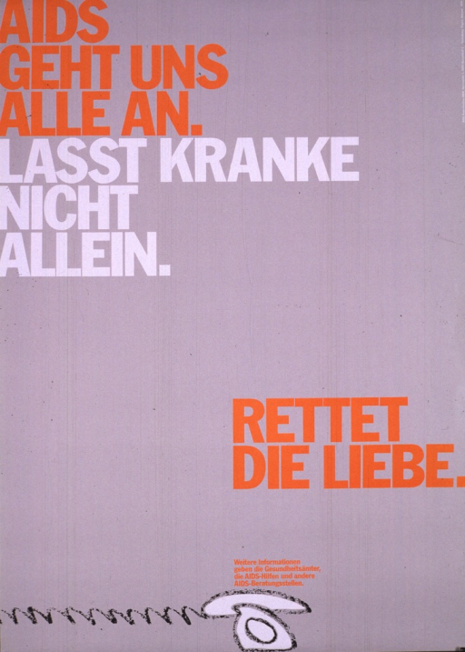 <p>Gray poster, the only illustration being a white telephone at the bottom, with the cord extending off the poster to the left. The title is printed in orange and white. The location of the AIDS-Koordination NRW is supplied vertically in small print on the right.  The poster alerts viewers to the possibilities for infection.</p>