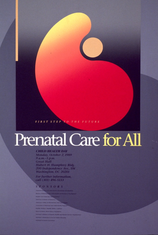 <p>Gray poster with an abstract representation of a mother holding an infant in yellow fading into orange fading into pink. The printed portion is mostly in a darker gray and gives the information regarding the event.</p>