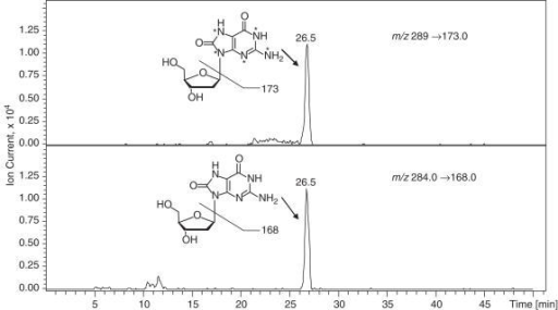 HPLC-ESI+-MS/MS analysis of 8-oxo-dG in an enzymatic hydrolysate of rat liver DNA (80 μg). An Agilent 1100 series capillary HPLC-ion trap MS system was used. A Zorbax SB C18 column (0.5 × 150 mm, 5 (m) was maintained at 10°C and eluted at a flow rate of 12 (l/min with a gradient of methanol (solvent B) in 15 mM ammonium acetate (solvent A). The mass spectrometer was operated in the positive ion MS/MS mode. Quantitative analyses were performed in selected reaction monitoring mode using the transitions m/z 284.1→168.0 (M + 2H − dR)+ for 8-oxo-dG and the corresponding transition m/z 289.1→173 for [15N5]-8-oxo-dG.