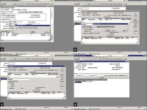 Screenshots demonstrating electronic crossmatch (EXM) in a blood bank (test) information system. (a) An order placed in the system alerts the blood bank that this particular patient is eligible for an electronic crossmatch; (b) Blood is assigned from a pending work-log and an EXM is run; (c) A compatible product is selected and; (d) Recorded in the computer system