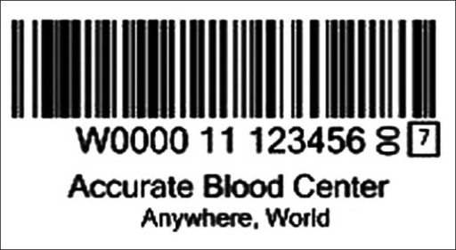 Format of unique donation identification barcode using ISBT 128. It has three elements: (1) the collection facility identified by the first five characters (W0000); (2) then the collection year (2011); (3) followed by a donation number assigned by the collection facility (123456). The last digit within a box is a checksum character. (Reproduced with permission from ISBT 128 An Introduction © ICCBBA Inc.  http://iccbba.org1uploads/a2/6e/a26e9302a6b32cae265322947c0ef239/ISBT128introbooklet.pdf