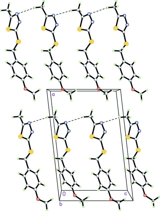 The crystal packing of the title compound viewed along the b axis. C—H···N weak interactions are shown as dashed lines.