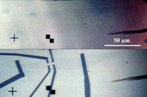 Optical microscopy of a SLEG grown on 8° off-axis semi-insulating SiC substrate. (a) before contact and (b) after contacting in a Hall Bar configuration for Hall Effect measurement.