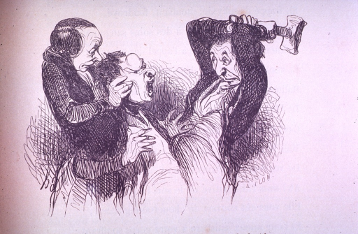 <p>A patient with a lump on his head is about to have it bludgeoned with a club by a homeopathist.</p>