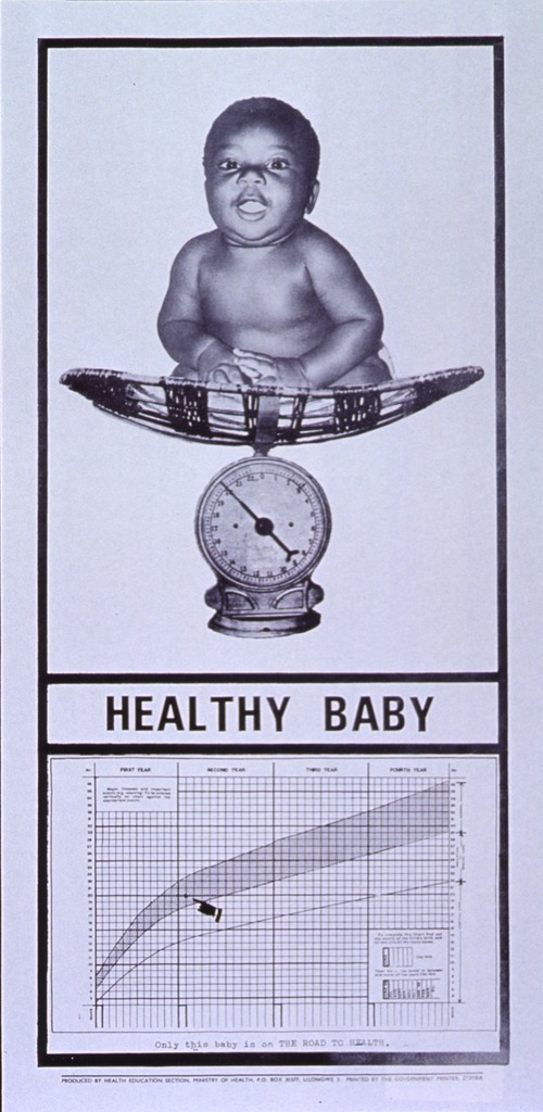 <p>White poster with black lettering.  Top of poster features a reproduction of a b&amp;w photo of a baby sitting in a basket on a scale.  The baby is slightly chubby, alert, and smiling.  Title appears below photo.  Bottom of the poster features a growth chart, complete with instructions on how to chart a baby's weight and care needed at certain ranges.  Note is below chart.  Publisher and printer information at very bottom of poster.</p>