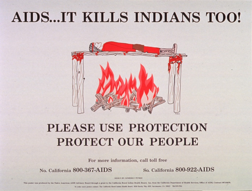 <p>Cream poster with black lettering.  Title at top of poster.  Visual image is an illustration of a man in Native American dress, resting atop a funeral pyre.  A fire burns below.  Caption and phone numbers for more information below illustration.  Publisher and sponsor information at bottom of poster.</p>