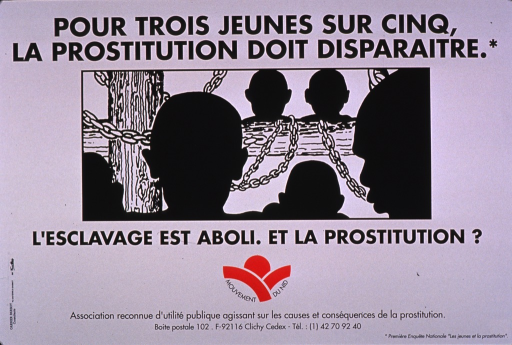 <p>Predominantly white poster with black lettering and red highlights.  Title at top of poster.  Visual image is an illustration of people chained in a slave ship.  Caption below illustration notes that slavery is abolished and asks about prostitution.  Additional text notes a national survey as the source of the title statistic.  Publisher information at bottom of poster.</p>