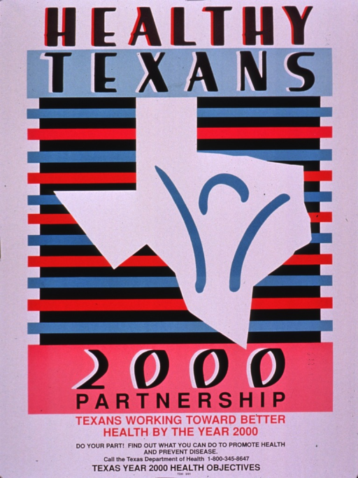 <p>Multicolor poster.  Initial title words at top of poster.  Visual image is an outline of Texas surrounding an abstract human figure.  The figure has its arms upraised.  Remaining title text, caption, and note below image.</p>