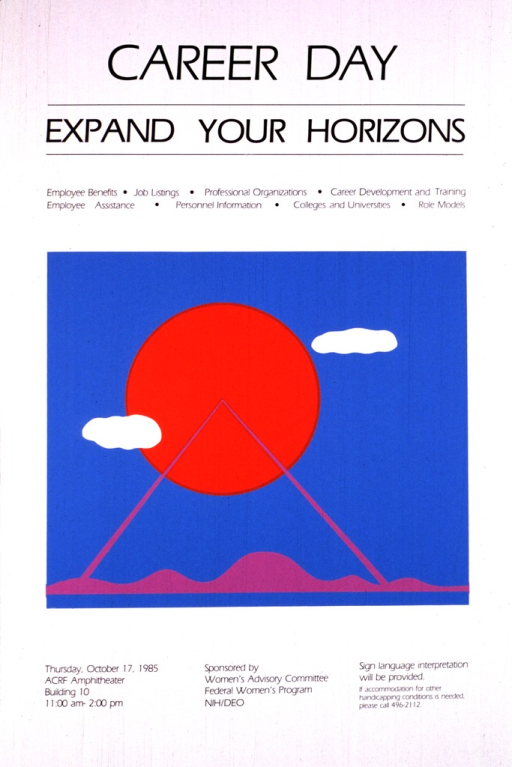 <p>The center of the poster shows a purple triangle intersecting the red sun with a couple of clouds in the sky.  The base of the pyramid is formed by a series of mountains.  The date is given as Thursday, Oct. 17, 1985, and the time, and location are also given.  In addition, the poster indicates that there will be a sign language interpreter and a phone number is given for any requests for other special needs.</p>