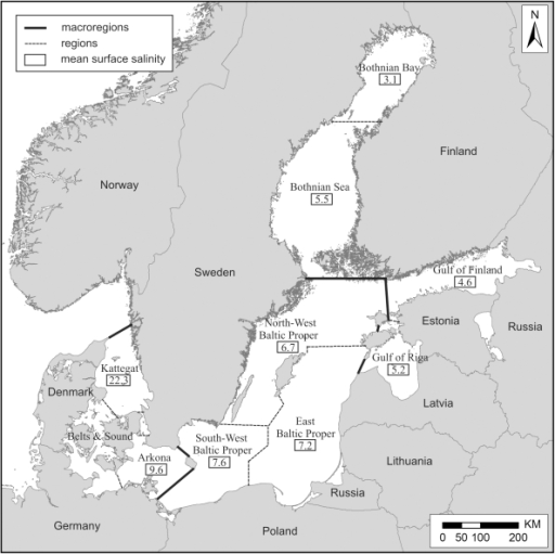Map of macroregions and regions of the Baltic Sea (sens | Open-i
