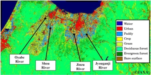 The land use management map for Toyama, Japan.