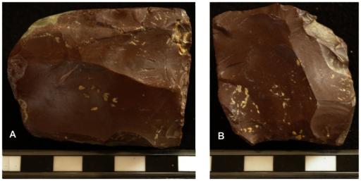 Two Levallois cores in red chert from Ibex Cave.A: recurrent bidirectional Levallois IBE 046. B: recurrent centripetal Levallois, IBE 053.