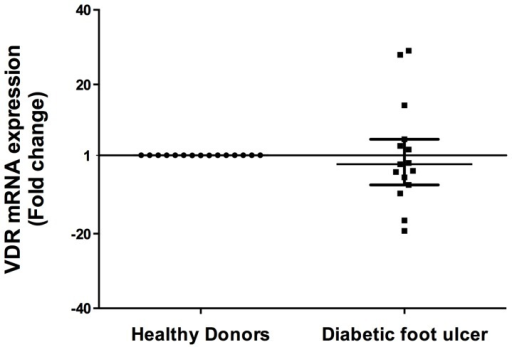 Vitamin D receptor gene expression in diabetic foot ulcers biopsies.Real time PCR was performed from DFU and healthy donors biopsies. Results show mRNA levels of VDR compared with healthy individuals are not statistically significant. Data is expressed as median ± interquartile range. Statistics were calculated by Mann Whitney test. In each experimental group, n = 15.