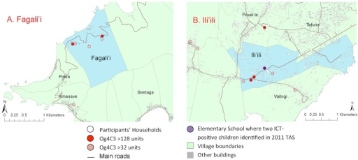 High resolution village maps of A. Fagali'I and B. Ili'ili, showing household locations of individuals with Og4C3 antigen of >128 units and >32 units, and school where two ICT-positive children identified in 2011 TAS.