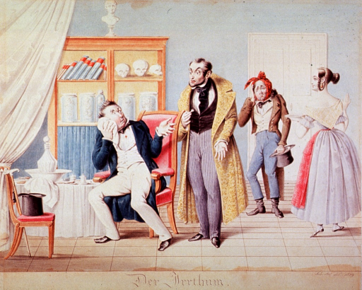 <p>Interior view of a dental office: A patient sitting in a chair is telling the dentist that he has pulled the wrong tooth; another patient stands to the right next to a young woman who may be the dentist's assistant.</p>