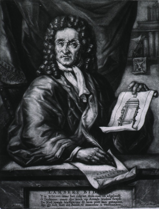 <p>Half-length, right pose, head turned front, writing with quill pen, and holding scroll.</p>