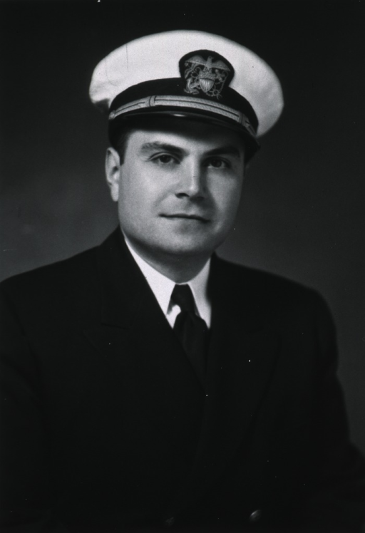 <p>Half-length, full face, body to right, wearing white cap with USPHS insignia.</p>