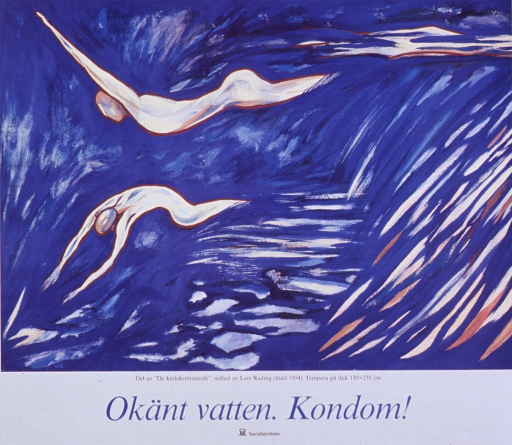 <p>Multicolor poster with black and blue lettering.  Poster dominated by a reproduction of an oil painting that features two abstract human figures diving into an expanse of blue suggestive of water.  Caption below painting indicates that the image is only part of Rading's &quot;De karlekstorstande,&quot; or love-hunger.  Title below caption.  Publisher information at bottom of poster.</p>