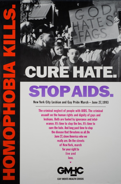 <p>A person is holding a sign that reads: God hates fags.  Spectators line the sidewalk.  In the foreground the faces of two men are scrambled to protect their anonymity.  A triangle is formed by sentences encouraging the cure to hate.</p>