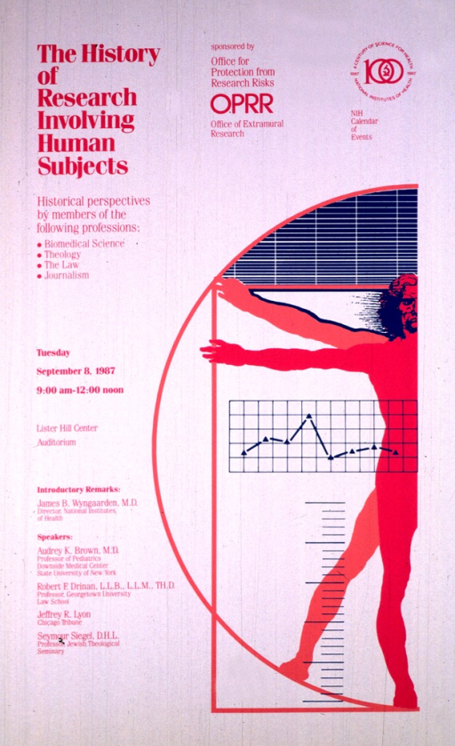 <p>The right hand portion of the poster shows a semi-circle with the right half of a human body, arms extended, and a graph or chart in the background.  There are two bodies, one bright pink and one salmon, superimposed on each other.  The logo for NIH century of science for health, 1887-1987 is in the upper right hand corner.</p>