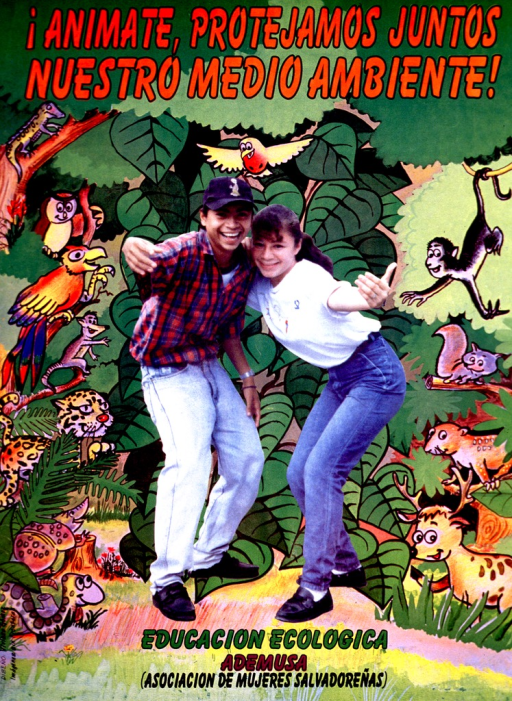 <p>Multicolor poster.  Title at top of poster.  Most of poster is an illustration of a thick jungle with many animals emerging from the vegetation or perched on branches.  A color photo reproduction featuring two teens is superimposed on the illustration.  The teens reach out, as if beckoning someone to join them.  Publisher information at bottom of poster.  Sponsor information on right side.</p>