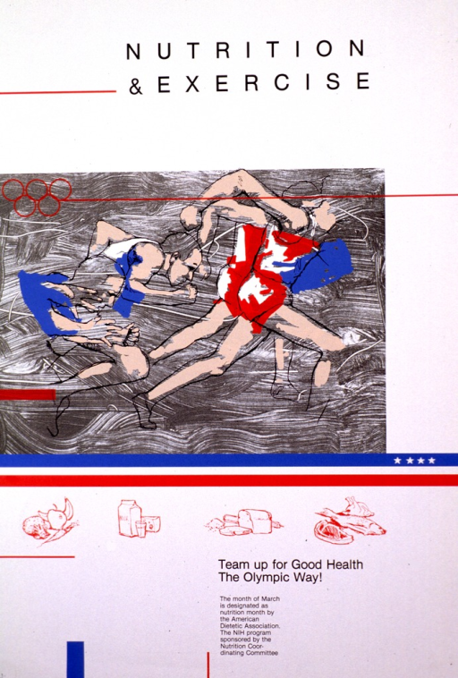 <p>White poster with the print in black. The center of the poster has the outline of two people running with splashes of color to represent their skin and running outfits. Three stripes under the picture are red, white, and blue with four small white stars along the one side. Under the stripes are samples of the food groups in red outline.</p>