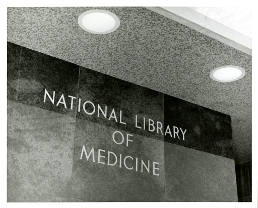 <p>Chiseled inscription, &quot;National Library of Medicine,&quot; outside the main entrance to the lobby.</p>