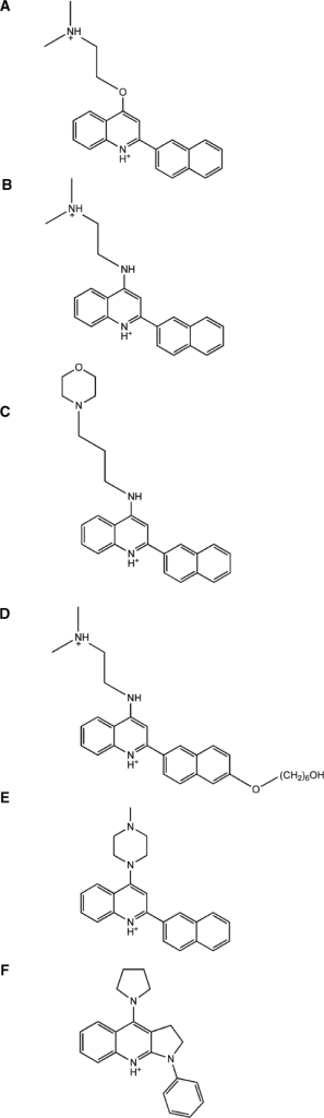 Chemical structures of the ligands used in virtual screening and competition dialysis experiments. (A) MHQ-12, (B) LS-08, (C) MHQ-15, (D) OZ-85H, (E) compound 1 and (F) compound 2.
