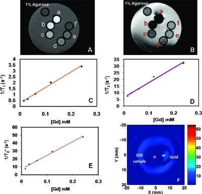 Magnetic resonance data and PAT contrast from Gd-doped GSS nanoparticle. (A) T1-weighted (repetition time (TR) = 11 000 ms, echo time (TE) = 4.2 ms) and (B) T2* TR = 500 ms, TE = 40 ms images of serial dilutions of Gd-doped GSS nanoparticle: (a) 0.24, (b) 0.12, (c) 0.06, (d) 0.03, and (e) 0.015 mM of Gd in 0.5% agarose and (f) 0.5% agarose (as control). Linear plots of Gd concentration vs (C) 1/T1, (D) 1/T2, and (E) 1/T2*, respectively, to obtain ionic relaxivities, R1, R2, and R2*, respectively, of Gd-doped GSS nanoparticle. (F) Comparison of PAT contrast from gold and GSS nanoparticles of similar size and concentration (8 μL of 10 mg/mL) in a tissue-like phantom with background: absorption coefficient μa = 0.007 mm−1 and reduced scattering coefficient, μs′ = 0.5 mm−1. A stronger photo-acoustic signal is obtained from GSS nanoparticles as compared to gold nanoparticles.