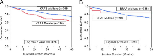 Impact of KRAS and BRAF mutations in CRC and the Kaplan–Meier. Survival analysis. (A) Colorectal cancer patients with KRAS mutations had reduced overall survival of 63.5% at 5 years compared with 73.5% without KRAS mutations (p = 0.0078). (B) In CRC patients, there was no significance in survival between BRAF mutated and non mutated cases. (p = 0.3310).