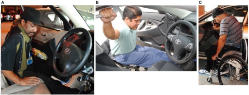 (A) Car transfer into a mid-height vehicle with right leg inside and left leg outside of the vehicle and leading hand on the driver's seat. (B) Car transfer into a sedan with both legs in the vehicle and the leading hand on the grab bar. (C) Car transfer into a sedan with both legs outside of the vehicle and the leading hand on the steering wheel.