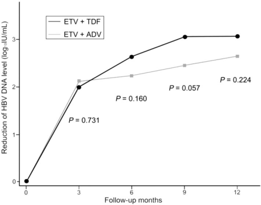 Mean reductions in serum HBV DNA level at 12 months in the ETV+ADV and ETV+TDF groups in patients with CHB refractory to LAM and ADV combination therapy.