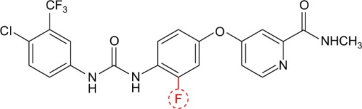 Chemical structure of sorafenib: 4-(4-[{(4-chloro-3-[trifluoromethyl] phenyl)carbamoyl}amino]-3-phenoxy)-N-methylpyridine-2-carboxamide.Note: Regorafenib differs from sorafenib by addition of a fluorine atom in the central phenyl ring as indicated in red, resulting in different target inhibition.