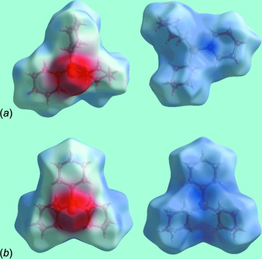 Views of the Hirshfeld surfaces for mapped over the electrostatic potential in the range ±0.075 au for (a) polymorph (I) and (b) polymorph (II).