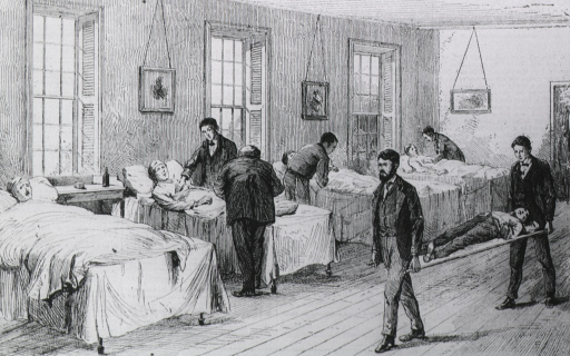 <p>New York hospital showing patient being brought into ward on stretcher.</p>