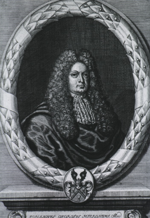 <p>Head and shoulders, right pose, wearing robe and long curled wig.  Portrait in oval, with crest.  Latin inscription.</p>