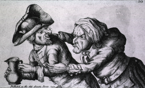 <p>A man with a big nose is holding a pitcher of ale; another man, hunchbacked and with a small nose is attempting to embrace, in an aggressive manner, the man holding the pitcher.</p>